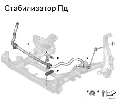 Barra estabilizadora delantera izquierda para BMW X6 (G06, F96)